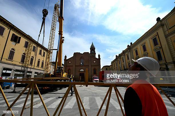 This picture shows a general view of the damaged church in Mirandola on May 22 2013 a year after an earthquake in the Emilia Romagna Reconstruction...