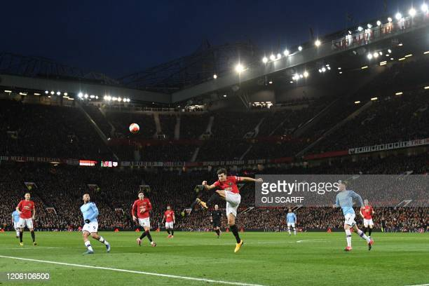 This picture shows a general view of the English Premier League football match between Manchester United and Manchester City at Old Trafford in...