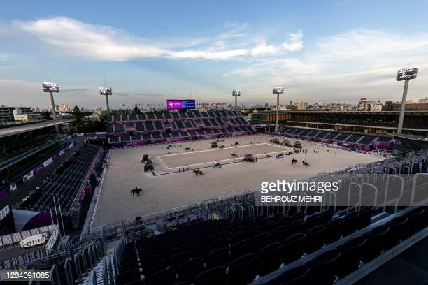 This picture shows a general view of the equestrian venue of the Tokyo 2020 Olympic Games at the equestrian Park in Tokyo on July 21, 2021.