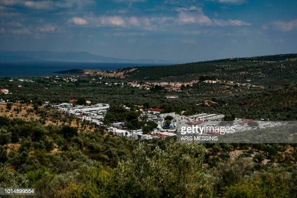 This picture shows a general view of the Moria migrant camp in Mytilene on the Greek island of Lesbos on August 5 2018