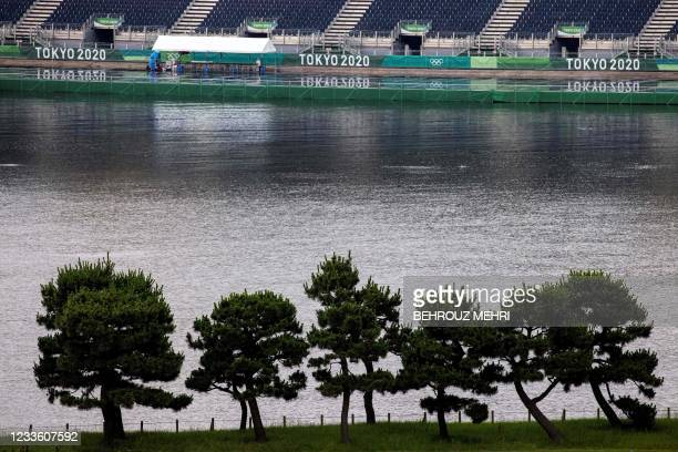 This picture shows a general view of the Odaiba Marine Park, the venue for marathon swimming and triathlon, in Tokyo on June 23, 2021.