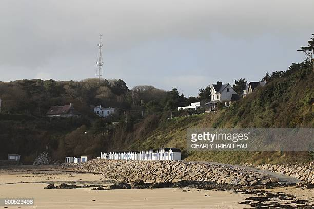 This picture shows a general view of the 'riprap' shoreline defence below a cliff where a landslide occured in 2008 on the Maritime Boulevard in...