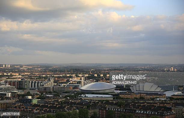 This picture shows a general view of the skyline ahead of a fireworks display during the opening ceremony of the 2014 Commonwealth Games at in...