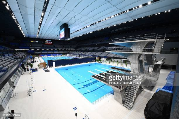 This picture shows a general view of the Tokyo Aquatics Centre - the venue for swimming, diving and artistic swimming at the 2020 Tokyo Olympics and...