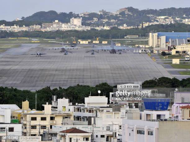 This picture shows a general view of the US Marine Corps Futenma Air Base in Ginowan Okinawa Prefecture on November 8 2009 Thousands rallied against...