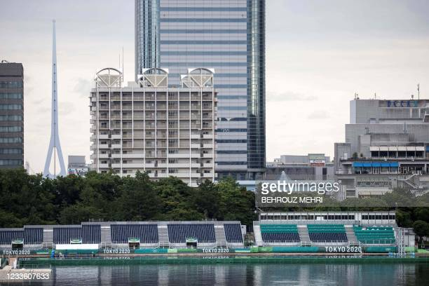 This picture shows a general view of Tokyo Olympic preparations at the Odaiba Marine Park, the venue for marathon swimming and triathlon, in Tokyo on...