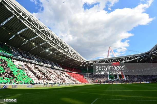 This picture shows a general view prior the Italian Serie A football match between Juventus and Cagliari at the 'Juventus Stadium' in Turin on May 11...