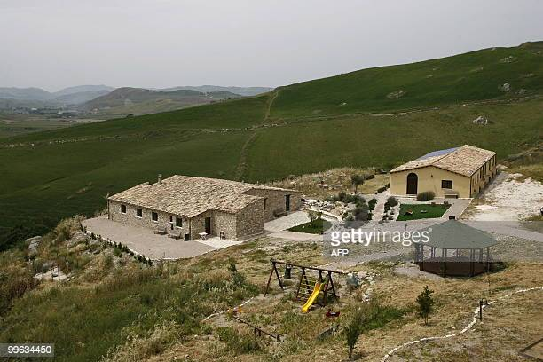 This picture shows a general view taken on May 14 2010 near Corleone on the Italian island of Sicily of the 'Terre di Corleone' a bed and breakfast...