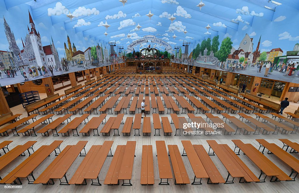 TOPSHOT - This picture shows a large view of an Oktoberfest tent pior to the opening & 2016 Oktoberfest - Press Preview Photos and Images | Getty Images
