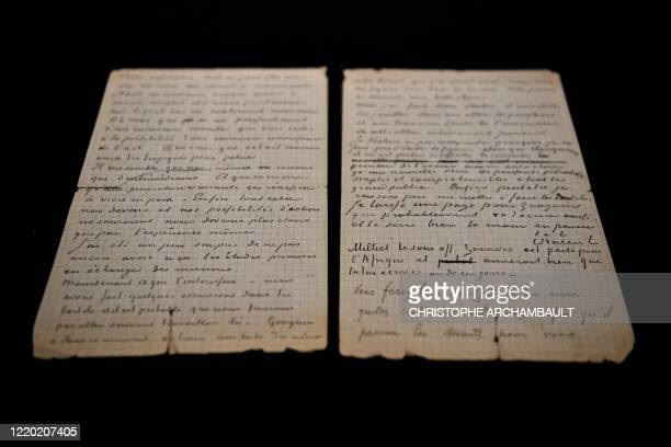 This picture shows a letter cowritten by Dutch painter Vincent Van Gogh and French painter Paul Gauguin on the eve of its auction sale at Drouot...