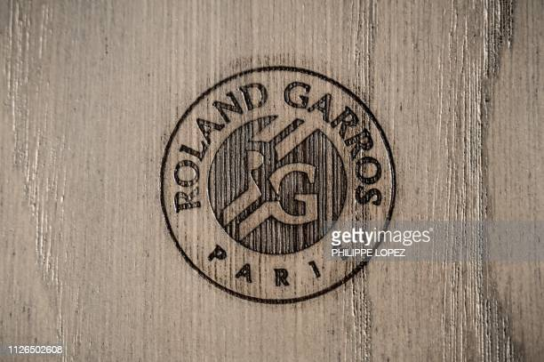 This picture shows a logo on one of the seats of the main Philippe-Chatrier court during its reconstruction work at the Roland Garros Tennis Complex...