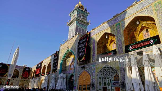 This picture shows a partial view of the Imam Ali mosque at the start of the month of Muharram ahead of Ashura in the central city of Najaf on August...