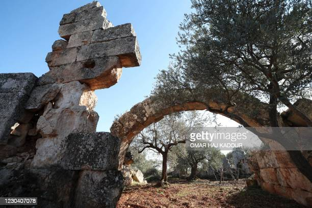 This picture shows a partial view of the ruins of the ancient settlement of Al-Bara, just outside the northwestern Syrian town of the same name, in...