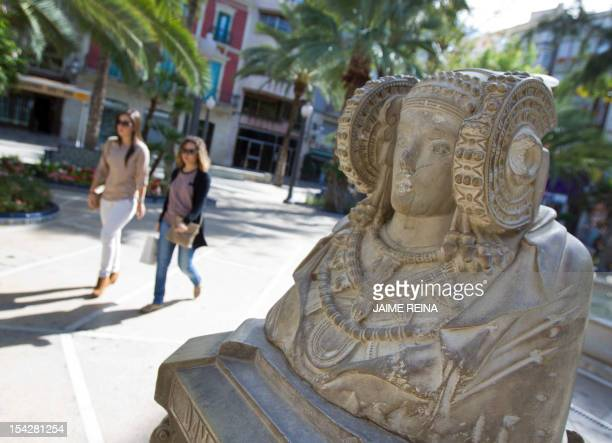 This picture shows a replica of the stone bust of the Lady of Elche in Elche southeast Spain on October 17 AFP PHOTO/ Jaime REINA