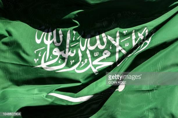 This picture shows a Saudi Arabian flag flying in Istanbul on October 10 2018 Jamal Khashoggi a Saudi Washington Post contributor vanished on October...