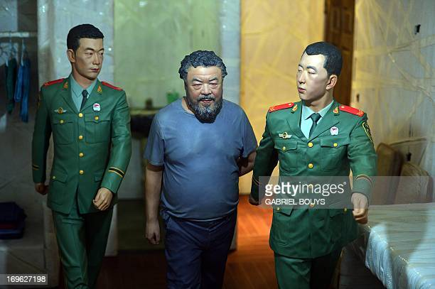 This picture shows a scene of the Disposition event by Chinese artist Ai Weiwei in the Sant'Antonin church during the press preview of the 55th...