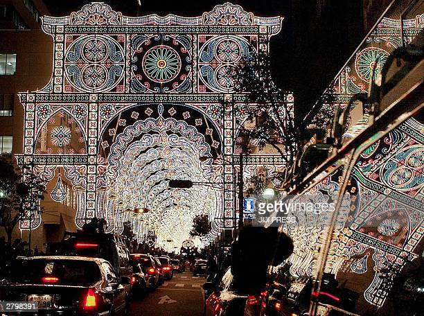 This picture shows a testlighting of the Kobe Luminarie 10 December 2003 at Kobe city near Osaka western Japan The annual lights festival which began...