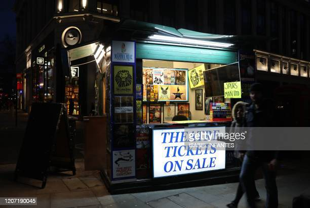 This picture shows a theatre tickets stand on March 12, 2020 in the theatres and restaurants district of West End in London. - Britain on March 12...