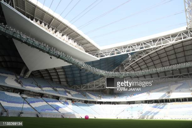 This picture shows a view inside the AlWakrah Stadium a World Cup venue designed by celebrated IraqiBritish architect Zaha Hadid some 15 kilometres...