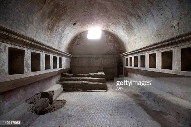 This picture shows a view inside the Thermae Stabianae, the baths restored and reopened after a two-year work at the archeological site of Pompeii on...