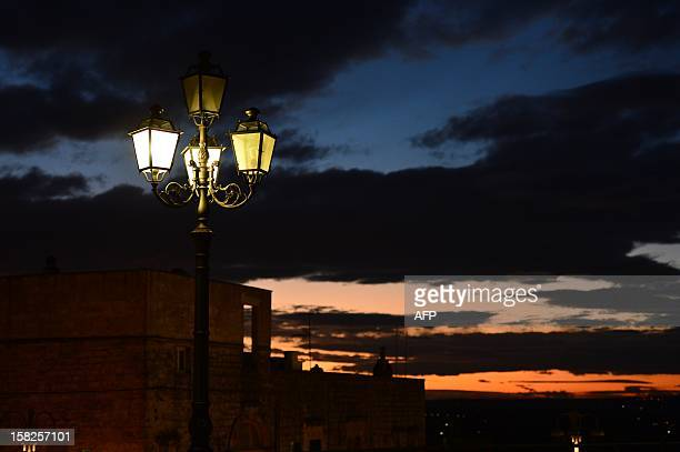 This picture shows a view of Cisternino in the southern Italian region of Puglia on December 10 2012 Cisternino is one of the few places on earth...
