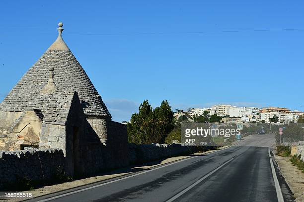 This picture shows a view of Cisternino with its typical Trullo houses in the southern Italian region of Puglia on December 11 2012 Cisternino is one...