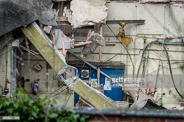 This picture shows a view of the abandoned site of the INOFER metal processing company in Mechelen on March 9 2015, the day after an 18-year-old man...
