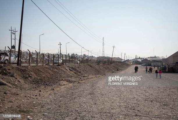 This picture shows a view of the Bajet Kandala camp for displaced Yazidis near Dohuk, 430 kilometres northwest of the Iraqi capital, by the border...