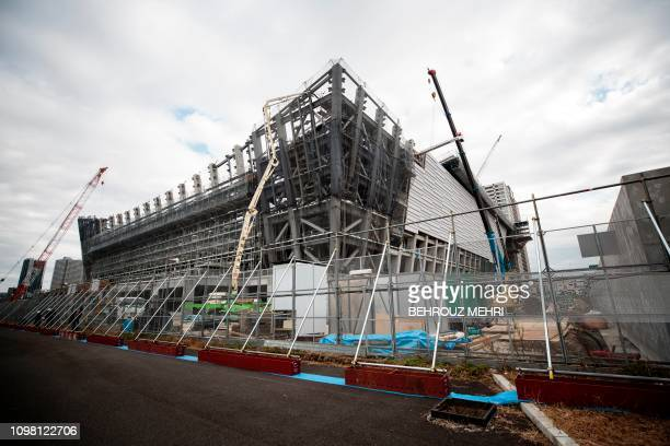 This picture shows a view of the under construction Ariake Arena venue for volleyball at the Tokyo 2020 Olympic Games and wheelchair basketball in...