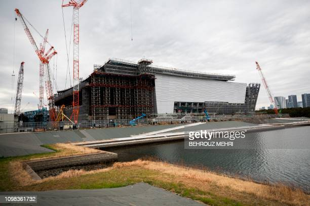 This picture shows a view of the under construction Ariake Arena venue for the volleyball at the Tokyo 2020 Olympic Games and wheelchair basketball...