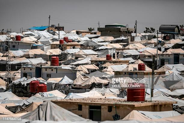 This picture shows alHol camp for displaced people in alHasakeh governorate in northeastern Syria on June 02 2019 Kurdish authorities in northeast...