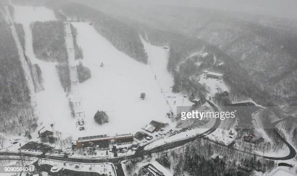 This picture shows an aerial view of a ski resort in the town of Kusatsu Gunma prefecture on January 23 2018 A Japanese soldier was killed on January...