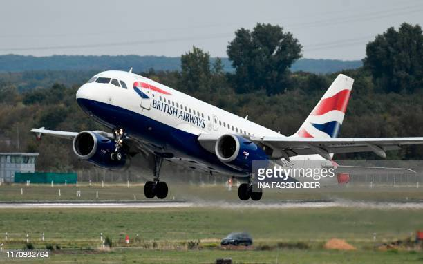 This picture shows an Airbus A319 of the British Airways during takeoff on September 24 2019 at the airport in Duesseldorf western Germany