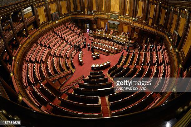 This picture shows an empty senate prior a session for a confidence vote for the new governement on April 30 2013 in Rome Italy's new prime minister...