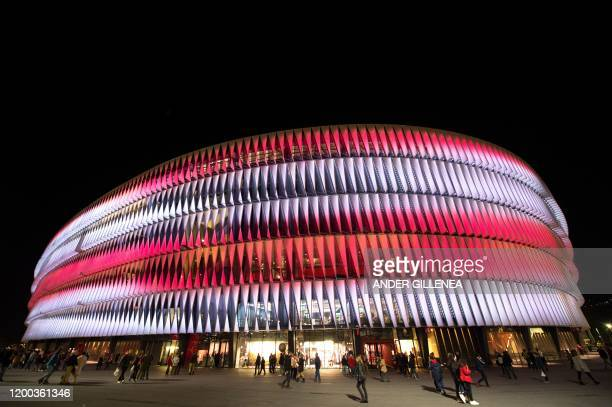 This picture shows an exterior general view of San Mames stadium in the Spanish Basque city of Bilbao on February 12 2020 The allseater football...
