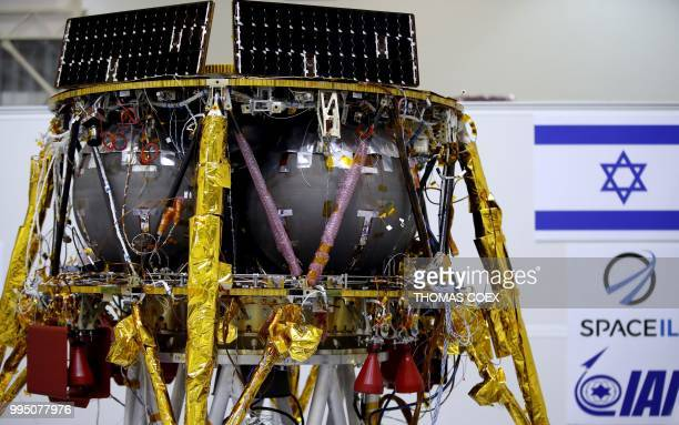 This picture shows an Israeli Aerospace Industries spacecraft during a press conference to announce its future launch to the moon in Yehud Eastern...