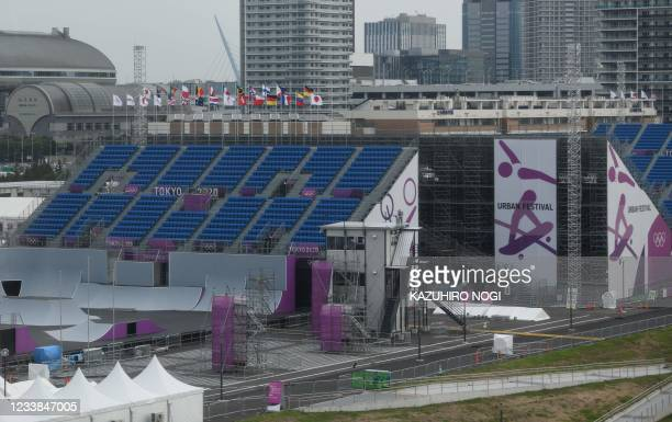 This picture shows Ariake Urban Sport Park, a venue of the 2020 Tokyo Olympic Games in Tokyo on July 7 as reports said the Japanese government plans...