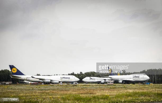 This picture shows Boeing 747-400 of Lufthansa airline stored at Twente Airport in Enschede, the Netherlands, on July 24, 2020. - The German airline...