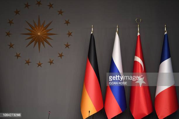 "This picture shows flags of Germany, Russia, Turkey and France ahead of a meeting during the ""Four-way Istanbul summit on Syria"", at Vahdettin..."