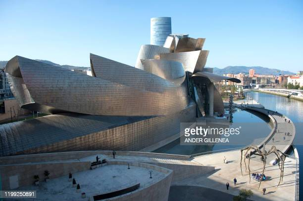This picture shows Guggenheim Bilbao Museum in the Spanish Basque city of Bilbao, on February 7, 2020. - The Spanish Basque city of Bilbao will host...