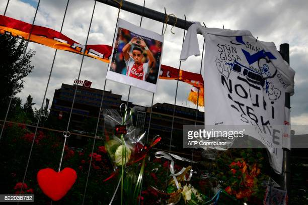 This picture shows items placed by the hospital where the Ajax midfielder Abdelhak Nouri receives treatments in Amsterdam on July 22 2017 Ajax...