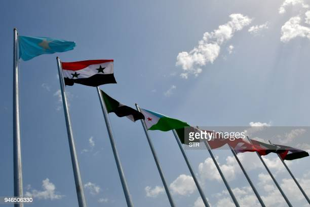 This picture shows national flags of the Arab league countries at the Ithra center during the 29th Summit of the Arab League in Dhahran in Eastern...