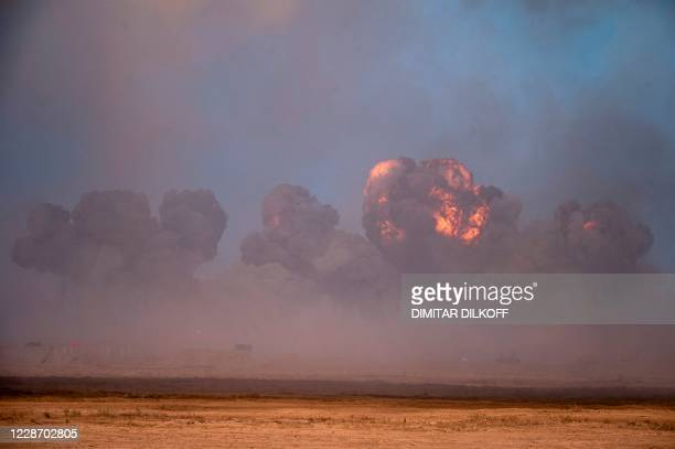This picture shows smoke rising during military exercises at the Kapustin Yar range in Astrakhan region, Southern Russia on September 25, 2020 during...