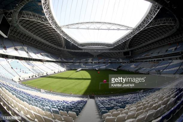 This picture shows the AlWakrah Stadium a World Cup venue designed by celebrated IraqiBritish architect Zaha Hadid some 15 kilometres on the...