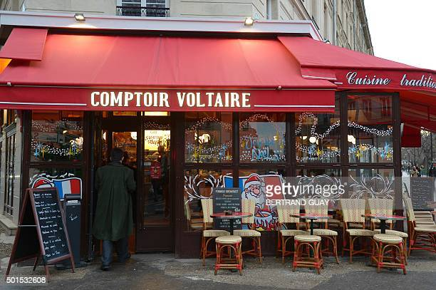 This picture shows the brasserie Le Comptoir Voltaire near Place de la Nation in eastern Paris on the day of its reopening on December 16 2015 a...