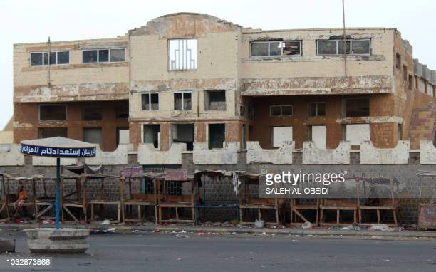 This picture shows the building of an old cinema in Yemen's southern city of Aden on September 11 2018 On opening night Yemeni director Amr Gamal...