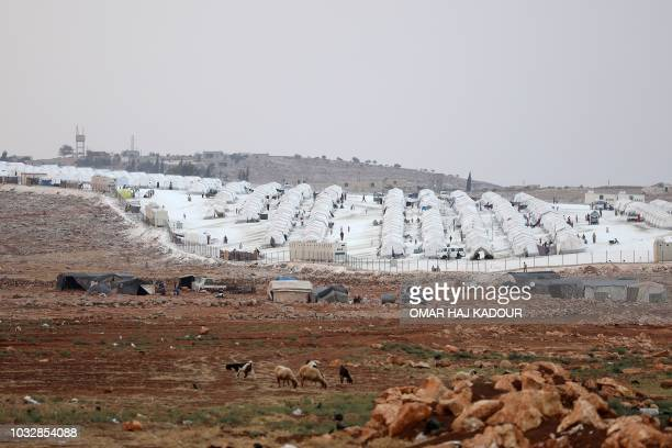 TOPSHOT This picture shows the camp 'Hope' in the Syrian village of Kafr Lusein north of the Bab alHawa border crossing on September 13 2018