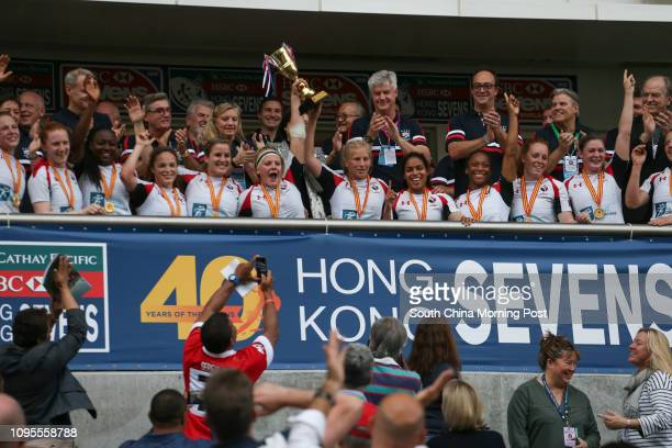 This picture shows the Canada team wins the Women's Invitational against Japan the 2015 Rugby Sevens tournament in Hong Kong. 27MAR15