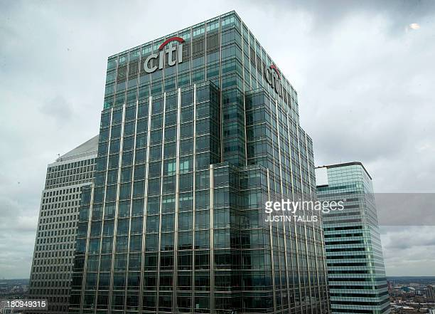 This picture shows the Citigroup skyscraper building in Canary Wharf in London on September 18 2013 AFP PHOTO / JUSTIN TALLIS
