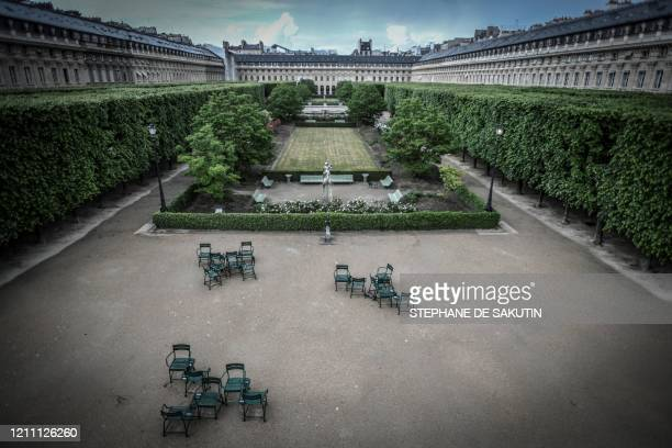 TOPSHOT This picture shows the closed Palais Royal garden on April 27 2020 in Paris on the 42nd day of a strict lockdown in France to stop the spread...